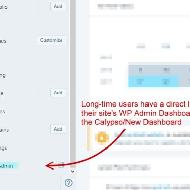 screenshot of link to WP Admin in older site dashboard