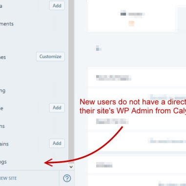 screenshot missing link to WP Admin in newer site dashboard