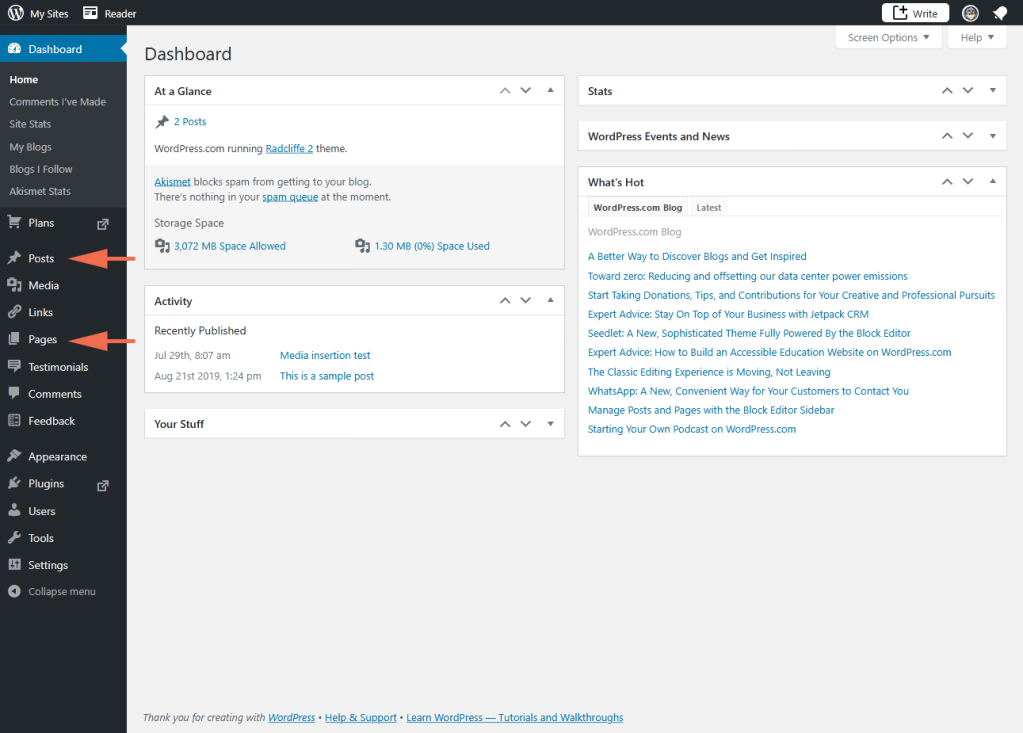 screenshot of WP Admin on WPcom with arrows pointing to Posts and Pages