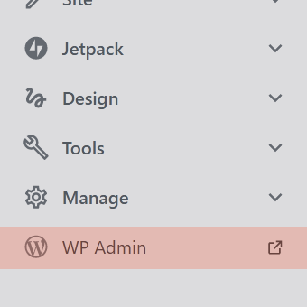 screenshot of WPcom MySite dashboard sidebar with WP Admin highlighted