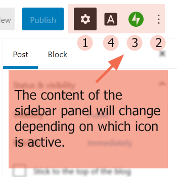 Screenshot of Block Editor right sidebar icons with text the content of the sidebar panel will change depending on which icon is active